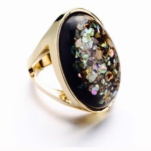Abalone Shell Large 18K Gold Statement Ring Size 7